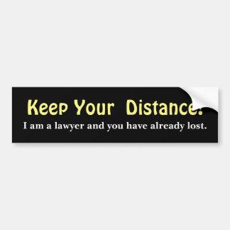 Håll ditt avstånd! Advokat - roligt meddelande Bildekal