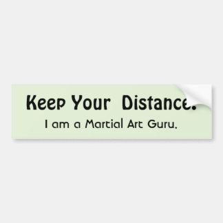 Håll ditt avstånd! Kampsport - roligt meddelande Bildekal