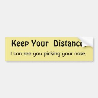 Håll ditt avstånd! Rolig meddelandevarning Bildekal