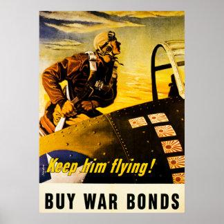 Håll honom flyget Köpkrigförbindelser - vintage Affisch