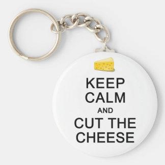 Håll lugn & klipp ostnyckelringen rund nyckelring