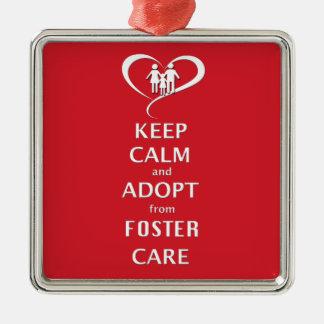 Håll lugn och adoptera från fosterhem julgransprydnad metall