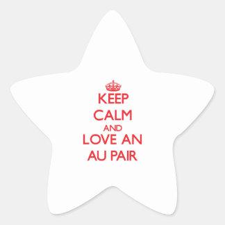 Håll lugn och älska en Au parar Stjärnformat Klistermärke