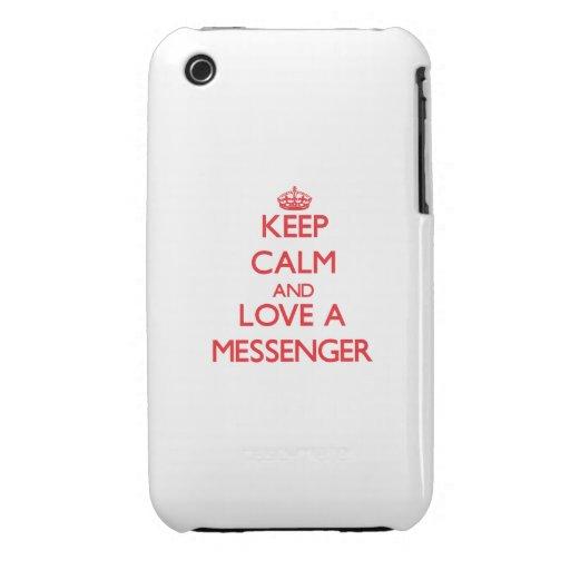 Håll lugn och älska en budbärare iPhone 3 fodral