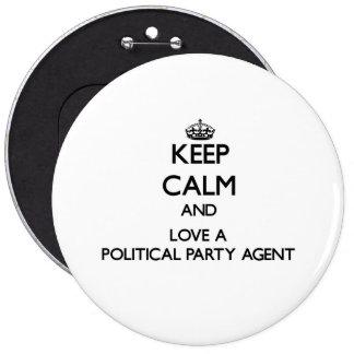 Håll lugn och älska en politiskt partiagent jumbo knapp rund 15.2 cm
