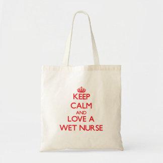 Håll lugn och älska en våt sjuksköterska budget tygkasse