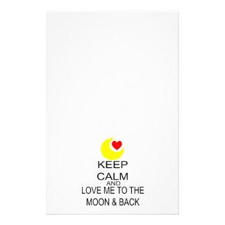 Håll lugn och älska mig till månen & dra tillbaka brevpapper