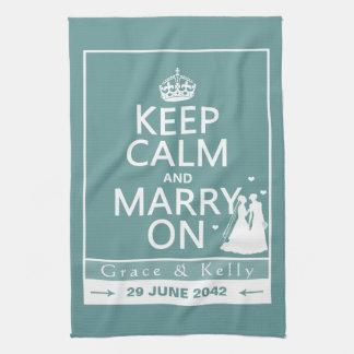 Håll lugn och att gifta sig på lesbiskt bröllop kökshandduk