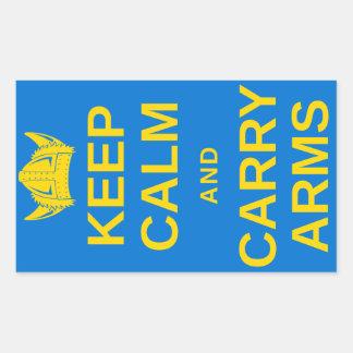 Håll lugn och bär ärmar som svenska Viking Retangel Klistermärken