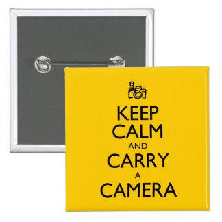 Håll lugn och bär en kamera standard kanpp fyrkantig 5.1 cm