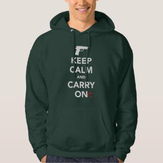 Håll lugn och bär ett vapen tröja med luva