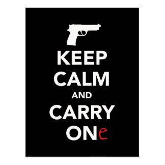 Håll lugn och bär ett vapen vykort