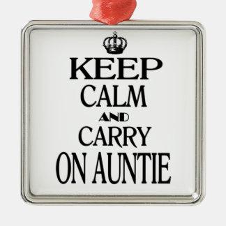 Håll lugn och bär på Auntie Julgransprydnad Metall