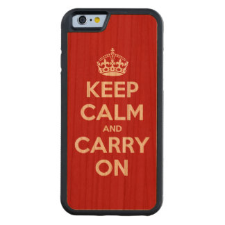 Håll lugn och bär på carved körsbär iPhone 6 bumper skal