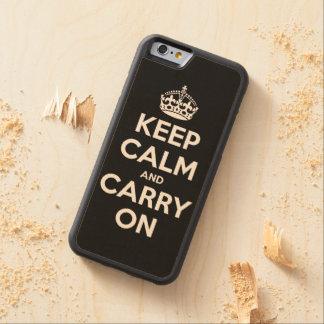 Håll lugn och bär på carved lönn iPhone 6 bumper skal