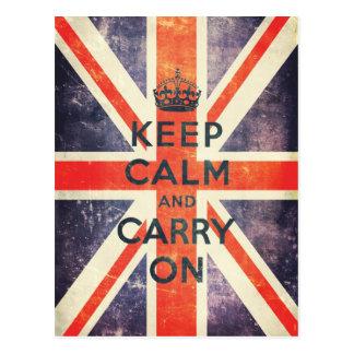 håll lugn och bär på facklig jackflagga för vykort