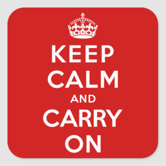Håll lugn och bär på fyrkantigt klistermärke