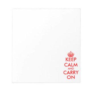 Håll lugn och bär på handstilpapper för anteckningsblock