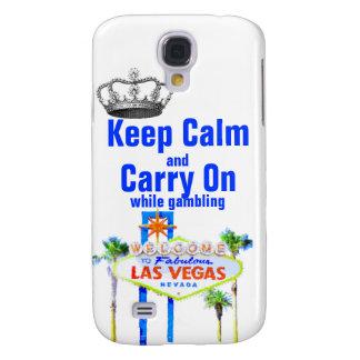 Håll lugn och bär på Las Vegas spelare Galaxy S4 Fodral
