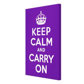 Håll lugn och bär på lilor slågen in kanfas canvastryck