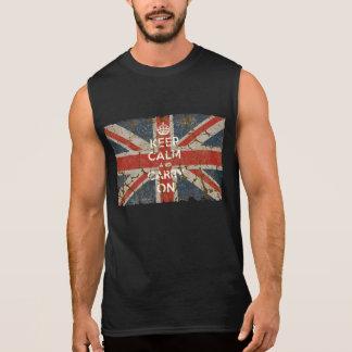 Håll lugn och bär på med UK-flagga Ärmlös T-shirt