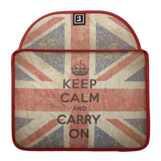 Håll lugn och bär på med UK-flaggan Sleeves För MacBook Pro