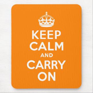 Håll lugn och bär på orangen mus matta
