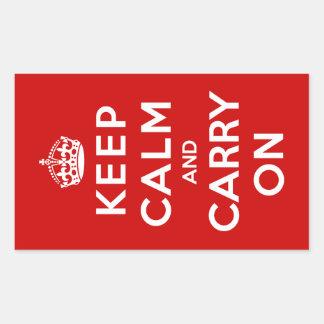 Håll lugn och bär på rektangulärt klistermärke