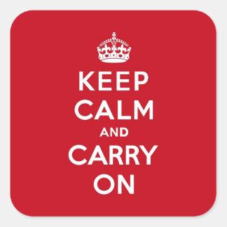 Håll lugn och bär på röda London Fyrkantigt Klistermärke
