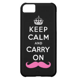 Håll lugn och bär på rosa mustasch iPhone 5C fodral