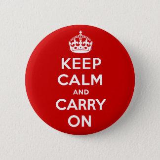 Håll lugn och bär på standard knapp rund 5.7 cm