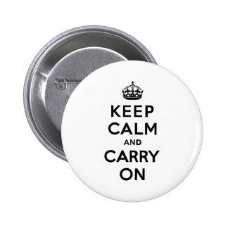 Håll lugn och bär på svart text standard knapp rund 5.7 cm