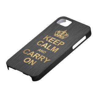 Håll lugn och bär på - svarten och guld barely there iPhone 5 fodral