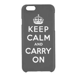 håll lugn och bär på - svartvitt clear iPhone 6/6S skal