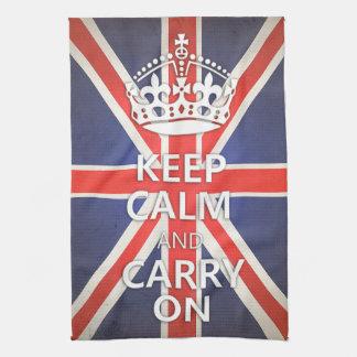 Håll lugn och bär på United Kingdom den fackliga Kökshandduk