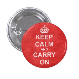 Håll lugn och bär på vintage mini knapp rund 3.2 cm