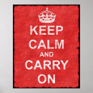 Håll lugn och bär på vintage poster