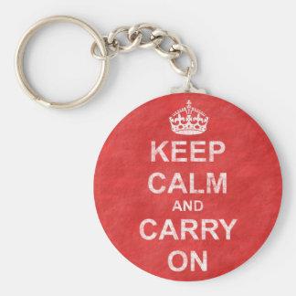Håll lugn och bär på vintage rund nyckelring