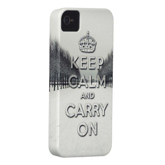 håll lugn och bär på vintersäsong iPhone 4 skal