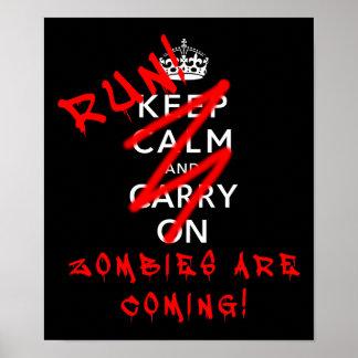 Håll lugn och bär på Zombies som den roliga affisc Print