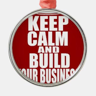 Håll lugn och bygga din affär julgransprydnad metall
