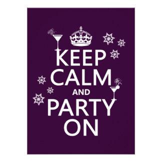 Håll lugn och festa på - allt färgar inbjudningar