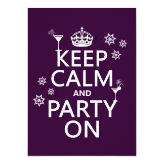 Håll lugn och festa på - allt färgar 14 x 19,5 cm inbjudningskort