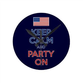 Håll lugn och festa på U.S.-flagga 4th Juli Rund Klocka
