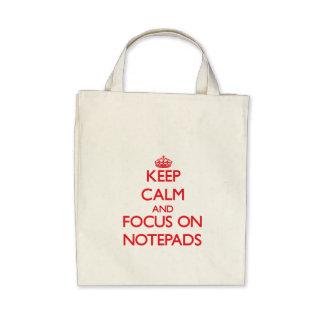 Håll lugn och fokusera på anteckningsblock tygkassar