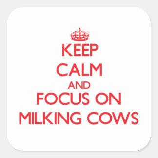 Håll lugn och fokusera på att mjölka kor fyrkantigt klistermärke
