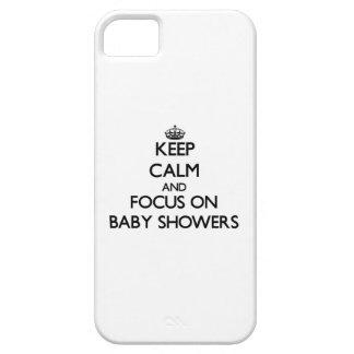 Håll lugn och fokusera på baby shower iPhone 5 fodraler