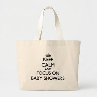 Håll lugn och fokusera på baby shower tygkassar