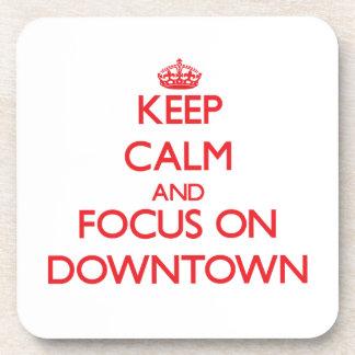 Håll lugn och fokusera på centra glas underlägg