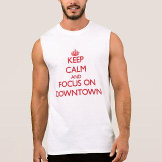 Håll lugn och fokusera på centra t-shirts utan ärmar